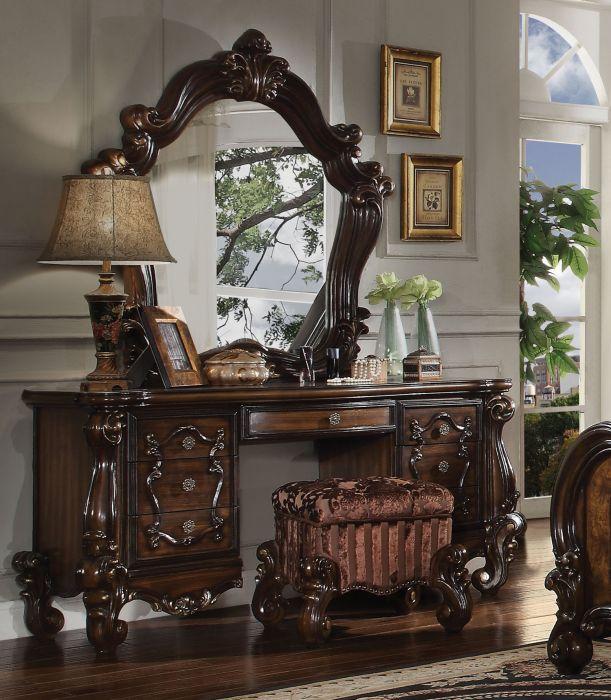 Acme 21107-08-04 3 pc Astoria grand welton versailles cherry oak finish wood bedroom make up vanity