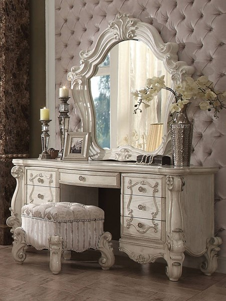 Acme 21137-38-34 3 pc Astoria grand welton versailles bone white finish wood bedroom make up vanity