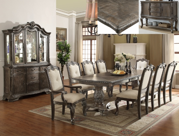 2151T 7 pc Wila arlo interiors Kiera grey finish wood formal dining table set with carved accents