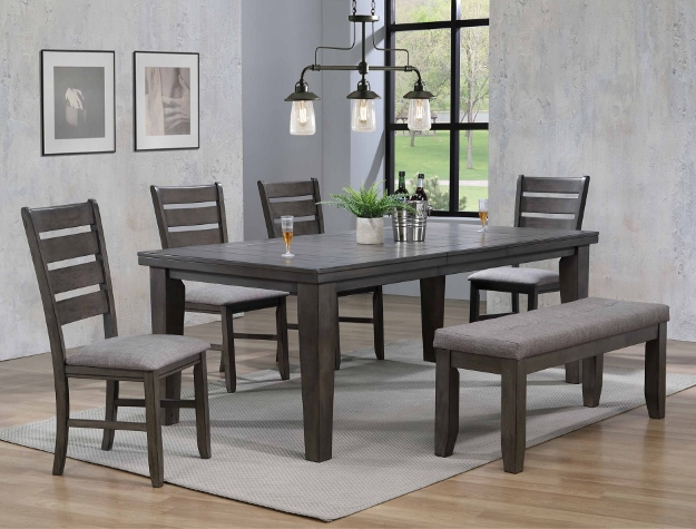 2152GY-T-4282 6 pc bardstown gray finish wood dining table set gray fabric chairs
