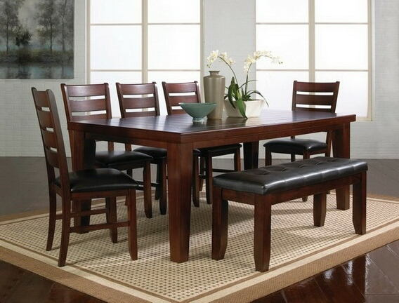 7 pc bardstown dark wood finish dining table set with vinyl upholstered chairs