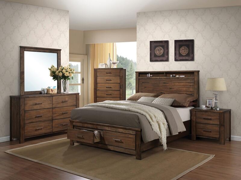 Acme 21680Q 5 pc merrilee oak finish wood headboard with storage queen bedroom set