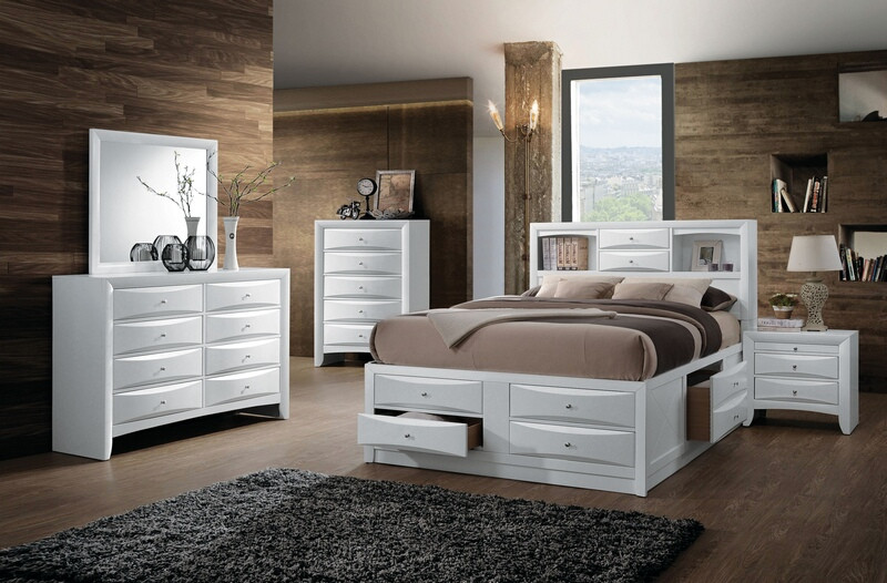 Acme 21700Q 4 pc ireland white finish wood storage headboard underbed drawers queen bed set