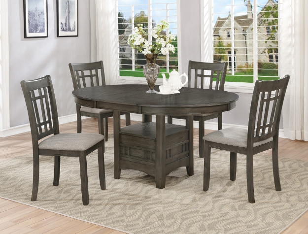 2195GY-T-4260 5 pc Hartwell gray finish wood dining table set fabric chairs