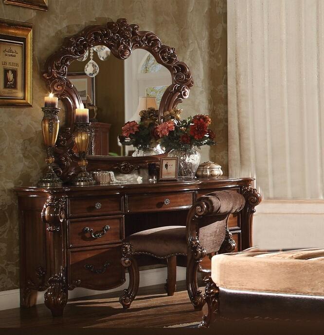 Acme 22009-10-04 3 pc astoria grand waloo vendome cherry finish wood bedroom make up vanity