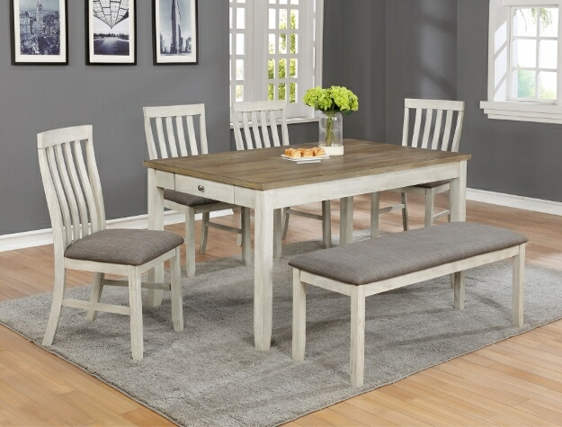 2217T-3660 6 pc Brigitte two tone finish wood dining table set fabric seats