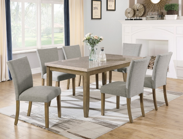 2222T-3864 7 pc Mike natural wood finish faux marble top dining table set