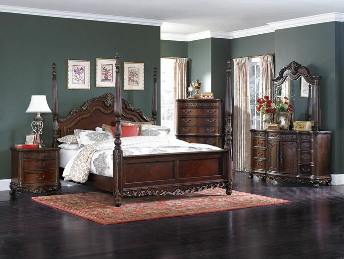 5 pc deryn park collection cherry finish wood carved accents 4 poster bedroom set