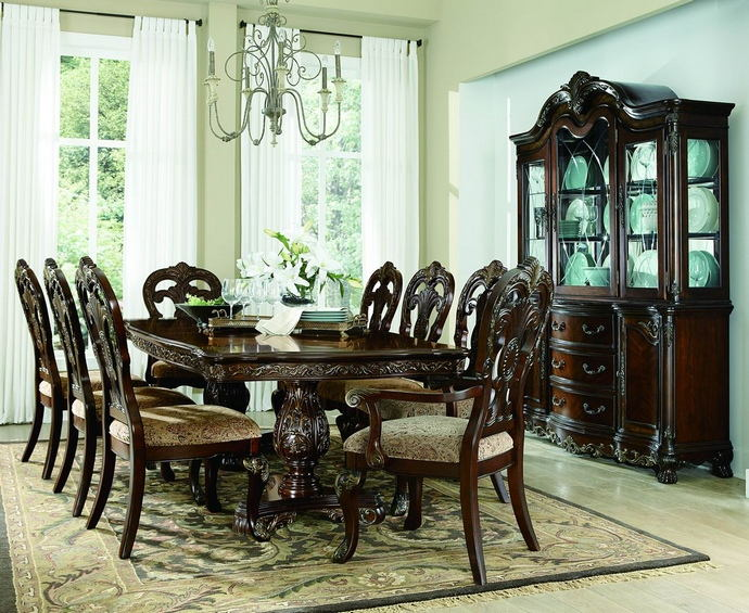 7 pc deryn park collection cherry finish wood double pedestal dining table set with ornate carvings