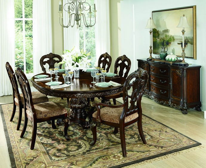 7 pc deryn park ii collection cherry finish wood round / oval pedestal dining table set with ornate carvings