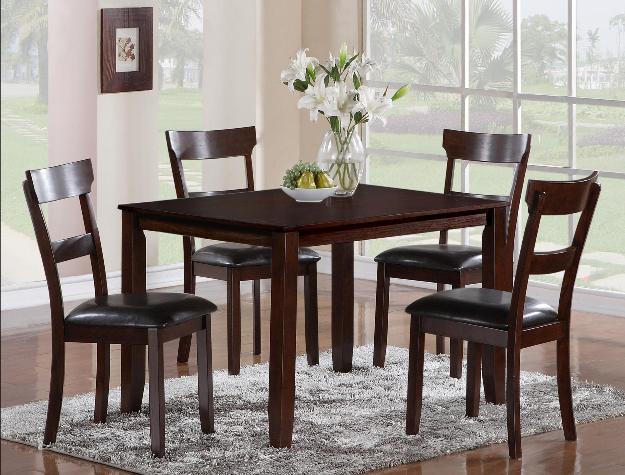 2254SET 5 pc wila arlo interiors henderson dark finish wood dining table set