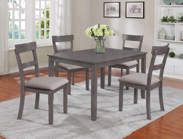 2254SET-GY 5 pc wila arlo interiors henderson grey finish wood dining table set