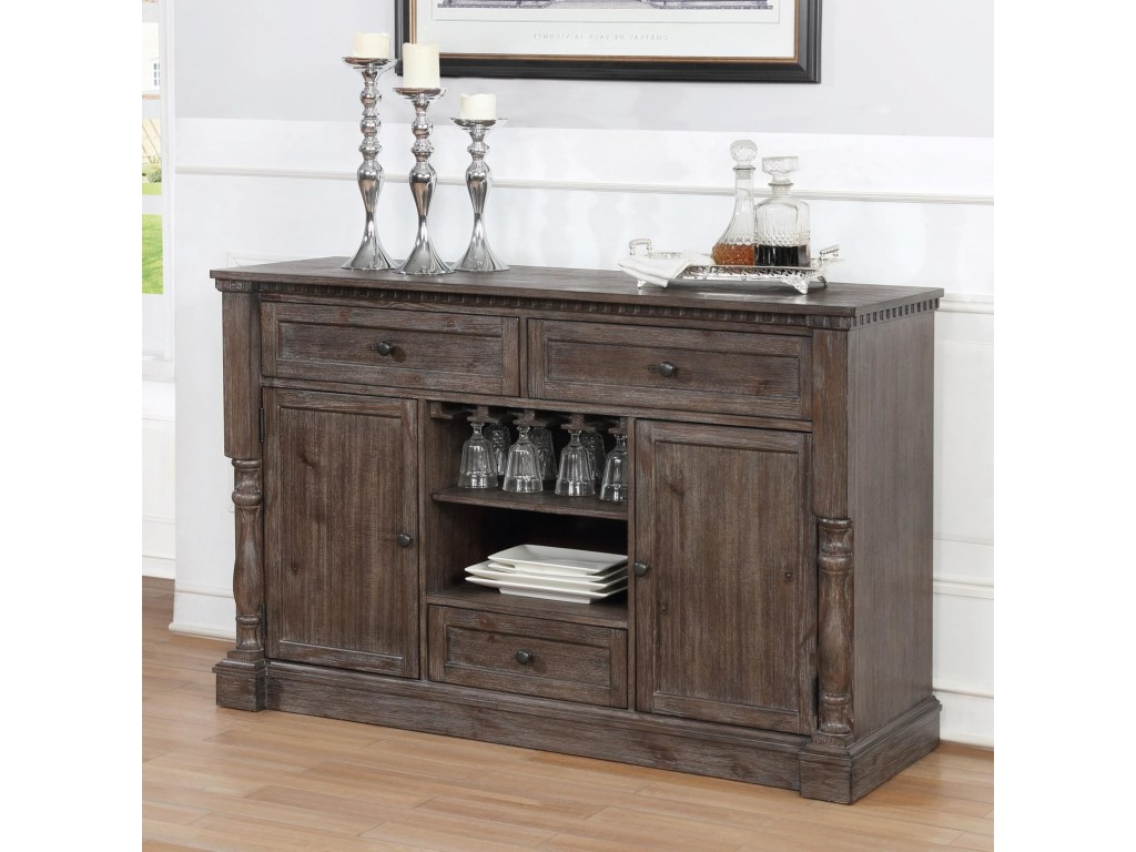 2270-Server Regent grey finish wood dining buffet server sideboard cabinet