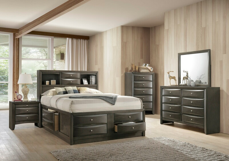Acme 22700Q 5 pc ireland gray oak finish wood storage headboard underbed drawers queen bed set