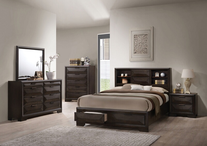Acme 22870Q 5 pc Merveille espresso finish wood bookcase headboard queen bedroom set