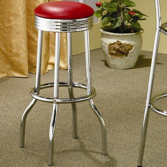 Set of 2 chrome finish metal bar stools with red vinyl seats