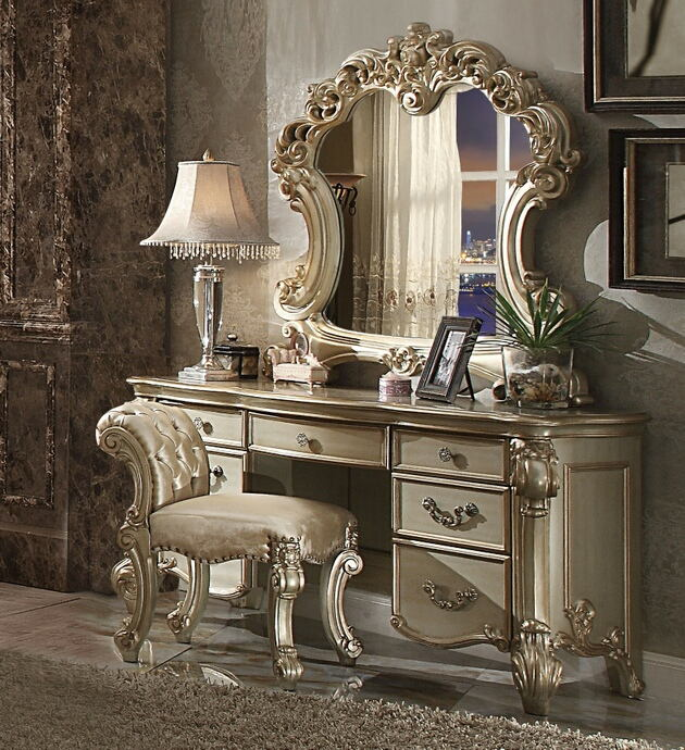 Acme 23007-08-04 3 pc vendome gold patina finish wood bedroom make up vanity