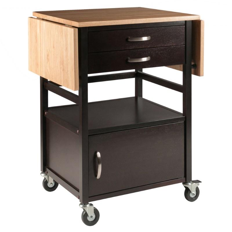 23343 Bellini Drop Leaf Kitchen Cart, Two-Tone