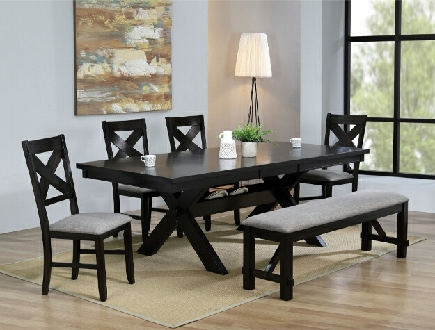 2335T-4290 6 pc Havana espresso finish wood dining table set with trestle base