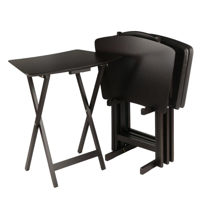 23594 Anila  5-Pc Snack Table Set, Fan Shape, Coffee