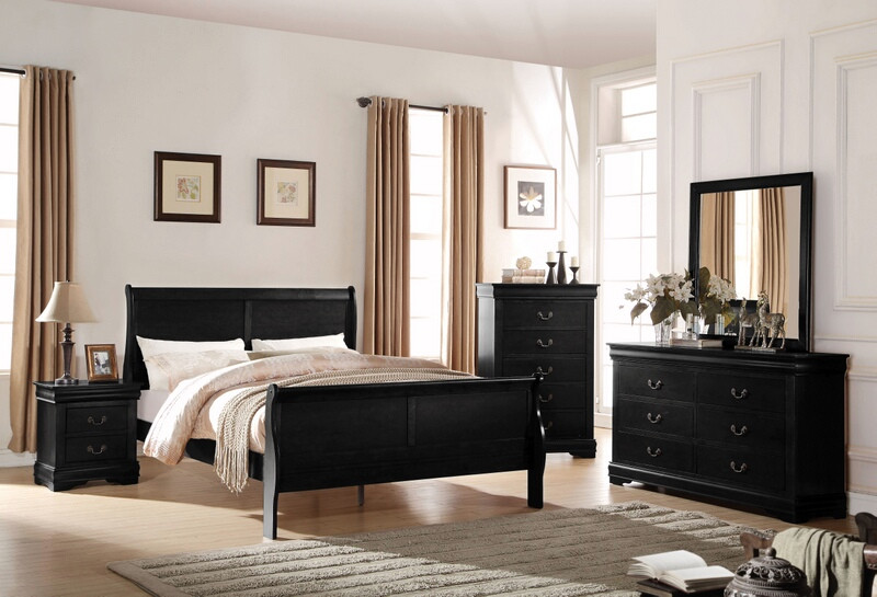 Acme 23730Q 4 pc louis phillippe black finish wood queen sleigh bedroom set