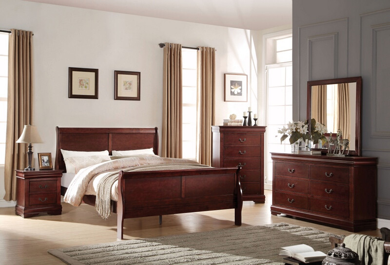 Acme 23750Q 5 pc louis phillippe cherry finish wood queen sleigh bedroom set
