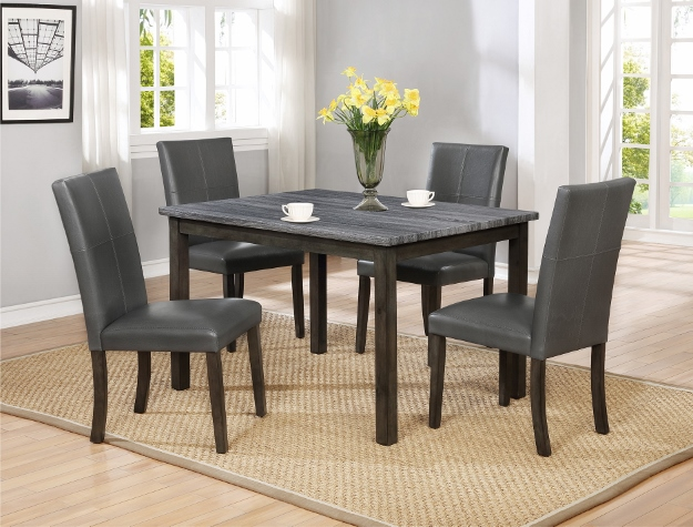2377 5 pc Pompei grey finish wood faux marble dining table set