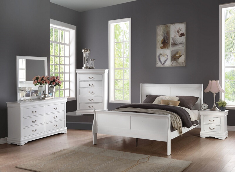 Acme 23830Q 5 pc louis phillippe white finish wood queen sleigh bedroom set
