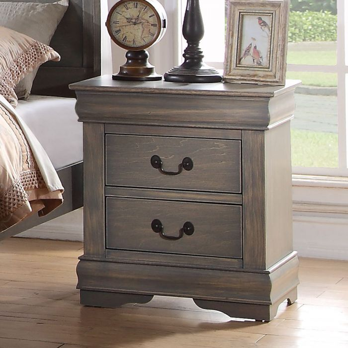 Acme 23863 Louis philippe antique gray finish wood 2 drawer nightstand bed side end table