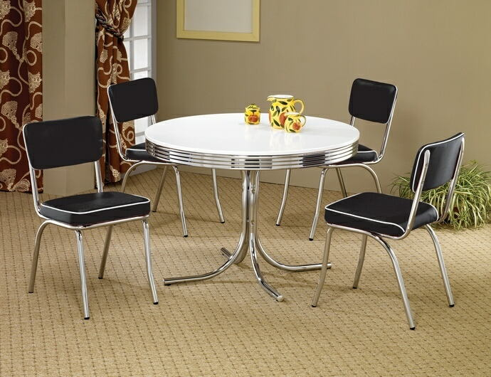 2388-5PC 5 pc retro chrome finish 50's diner round white top dining table set black or red cushions.