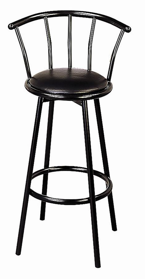 2398 Set of 2 black metal bar stools with padded seats