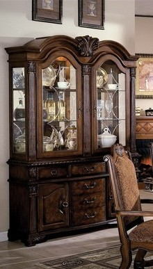 Neo renaissance cherry brown finish wood formal dining hutch and buffet
