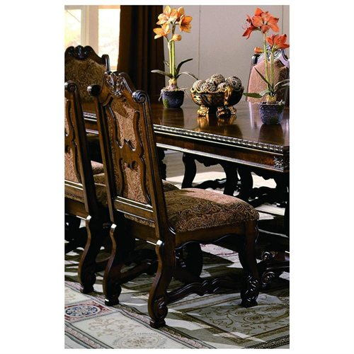 Set of 2 neo renaissance side chairs with wood accents and padded seat and back