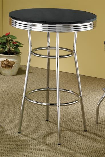 Home bar table retro 50's soda fountain style chrome finish accents with round black finish top