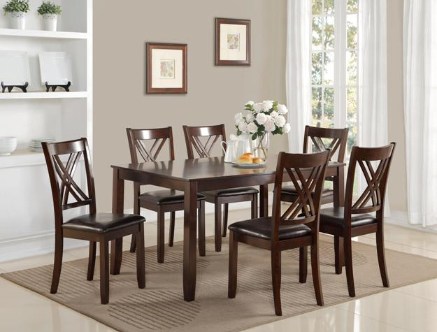 2430SET 7 pc Eloise brown wood finish dining table set with double cross back design