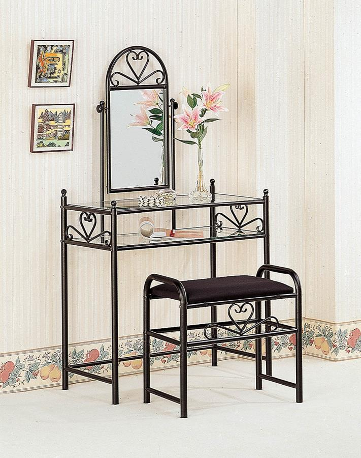 2432 3 pc heart motif black metal finish bedroom vanity make up dressing table