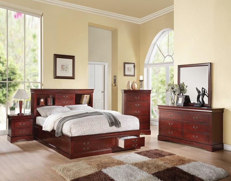 Acme 24380Q 5 pc louis phillipe iii cherry finish wood storage headboard underbed drawers queen bedroom set