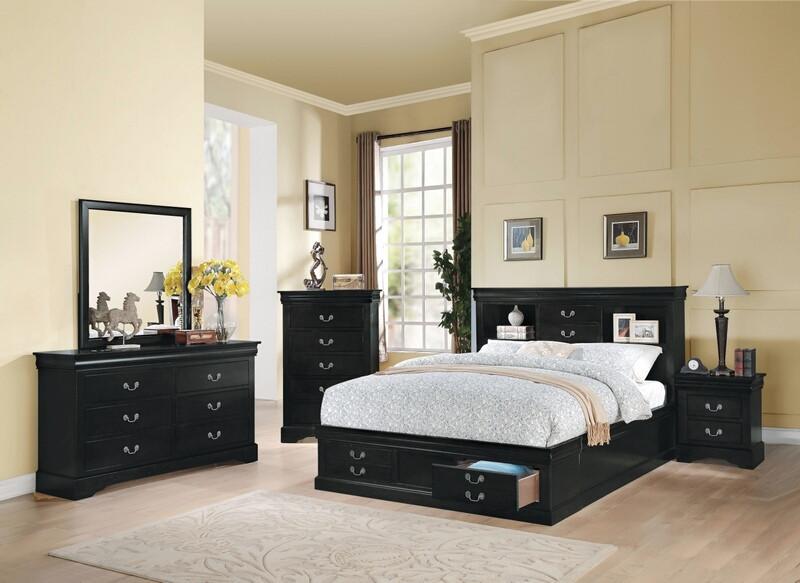 Acme 24390Q 5 pc louis phillipe iii black finish wood storage headbord underbed drawers queen bedroom set