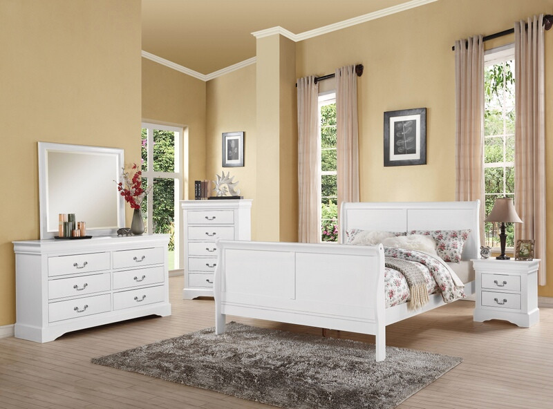 Acme 24500Q 5 pc louis phillipe iii white finish wood queen sleigh bedroom set