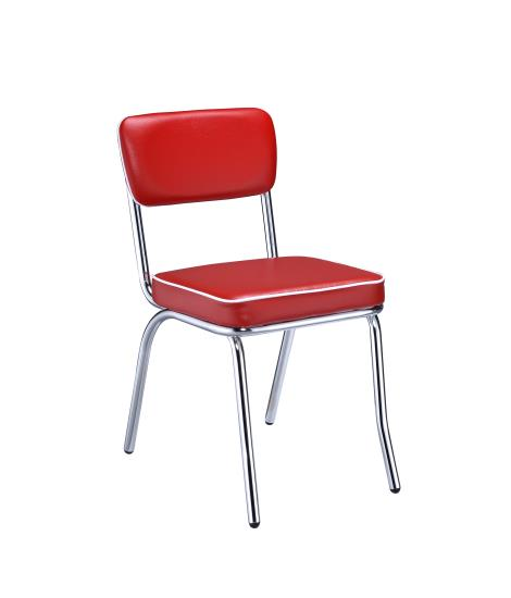 2450R Set of 2 retro chrome finish dining chairs with red cushioned seats