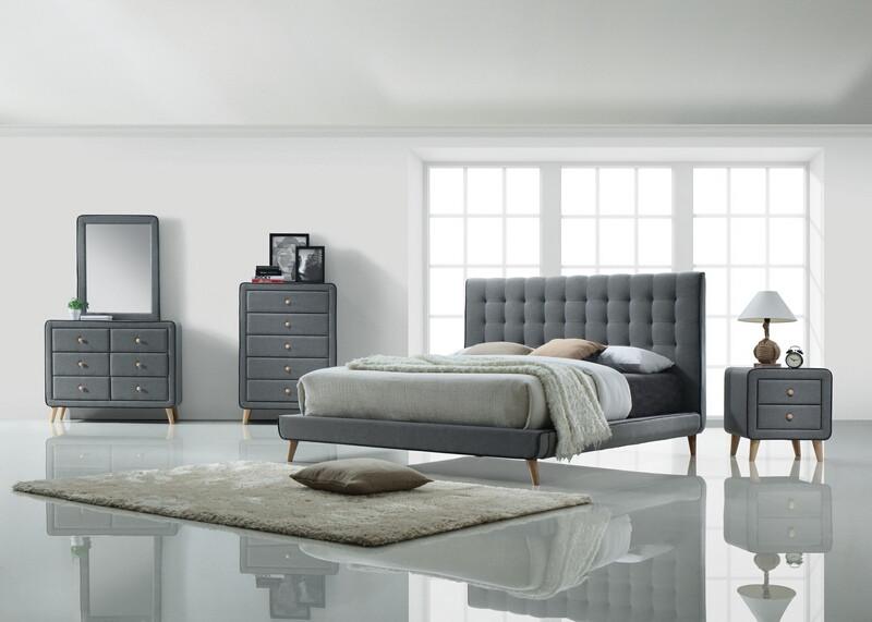 Acme 24520Q 5 pc valda light gray fabric upholstered queen bedroom set