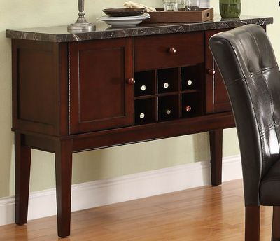 Decatur collection espresso finish wood and marble top buffet server
