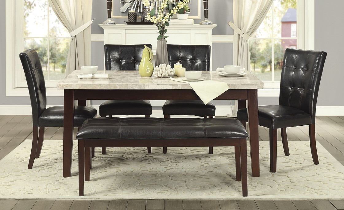 Homelegance 2456-64WM-6PC 6 pc decatur espresso finish wood and marble top dining table set with seats
