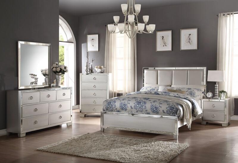 Acme 24830Q 5 pc voeville ii platinum finish wood mirrored accents queen bedroom set