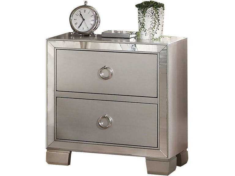 Acme 24843 Voeville II platinum finish wood 2 drawer nightstand bed side end table