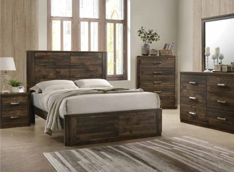 5 pc Elettra antique walnut finish wood panel queen bedroom set