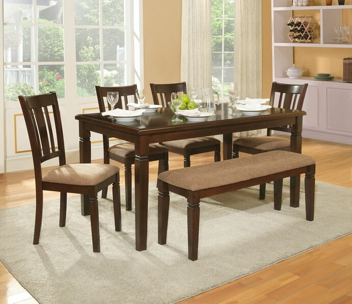 6 pc devlin collection espresso finish wood dining table set with upholstered seats