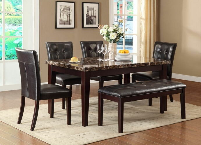 6 pc teague collection espresso finish wood and faux marble top dining table set with upholstered seats