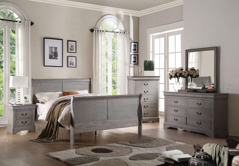 Acme 25500Q 5 pc louis philippe iii antique gray finish wood queen sleigh bedroom set