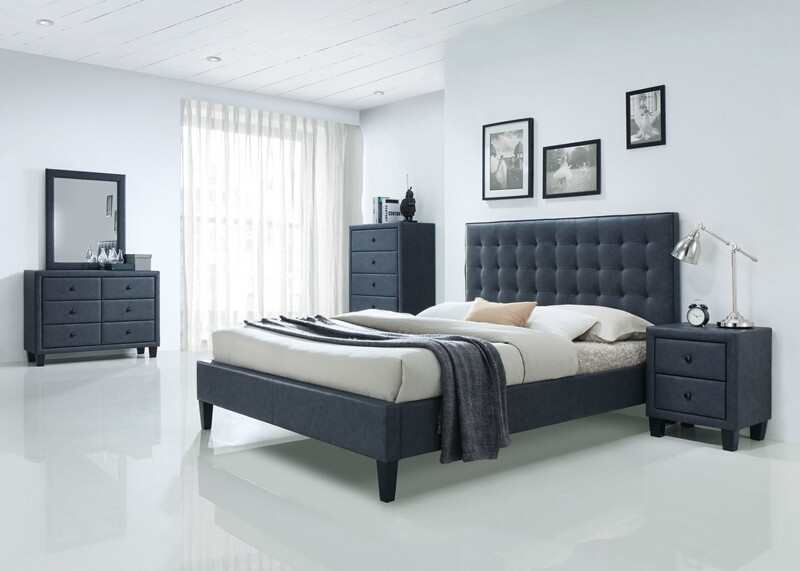 Acme 25660Q 5 PC Saveria two tone grey faux leather padded queen size bed set